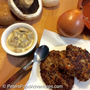 My favorite way to eat incredibly lean and healthy kangaroo meat! Based on Russian Kotleti, part hamburger, part rissole, part meatball, entirely delicious - Kangaroo Patties in Creamy Mushroom Sauce (Котлеты)