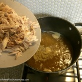 Chinese Chicken and Corn Noodle Soup preparation