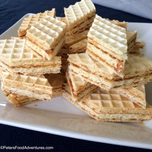 Super easy to make, and so caramel-y and sticky. It's known by several different names in Eastern Europe, Вафли, Oblandi, or Oblate - Vafli Wafer Cake with Caramel (Вафли)