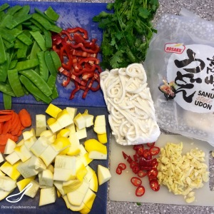 Pattypan Squash & Beef Stir Fry ingredients