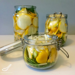 Quick Pickled Summer Squash - A great way to preserve your vegetables. These are so good! Throw a few on a hamburger, Perfect for bbq season this summer!