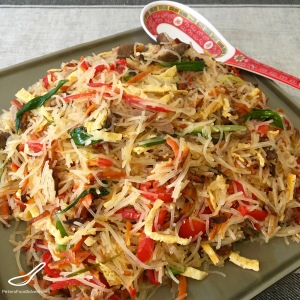 An amazing Central Asian Salad made from Beef, Bean Vermicelli, Vegetables and Black Vinegar - Beef Funchoza Recipe (Фунчоза)