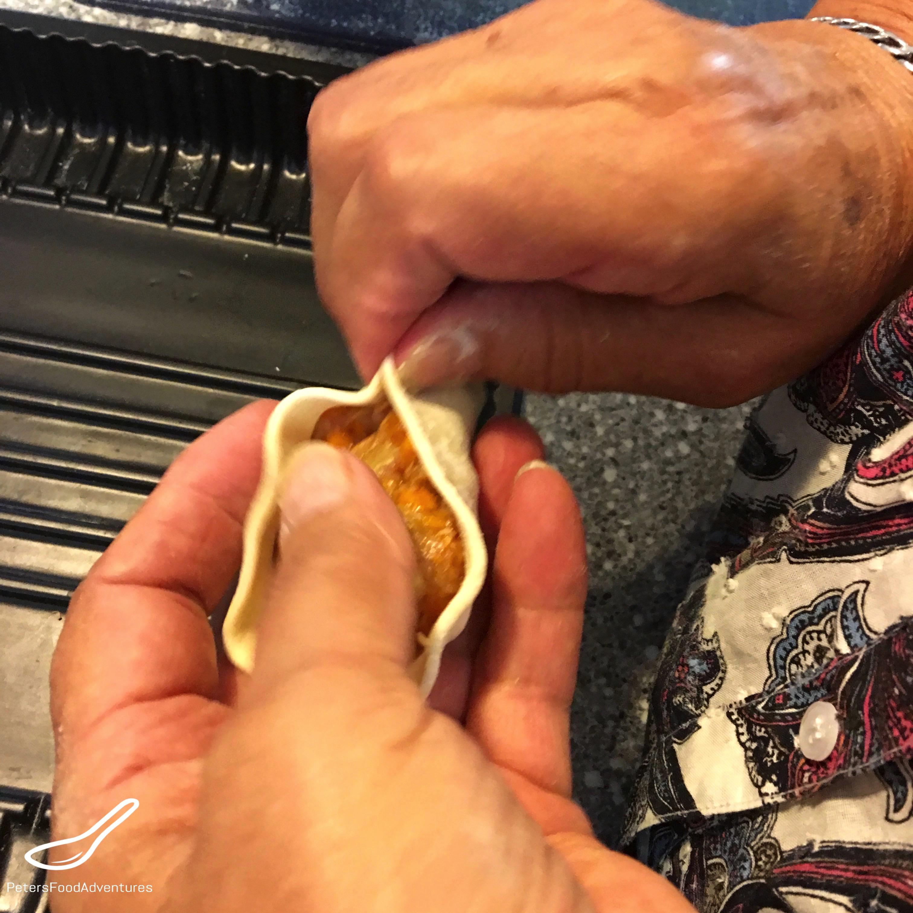 Manti Steamed Dumplings (Манты) pinching dough