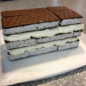 Ice Cream Sandwich Cake prep