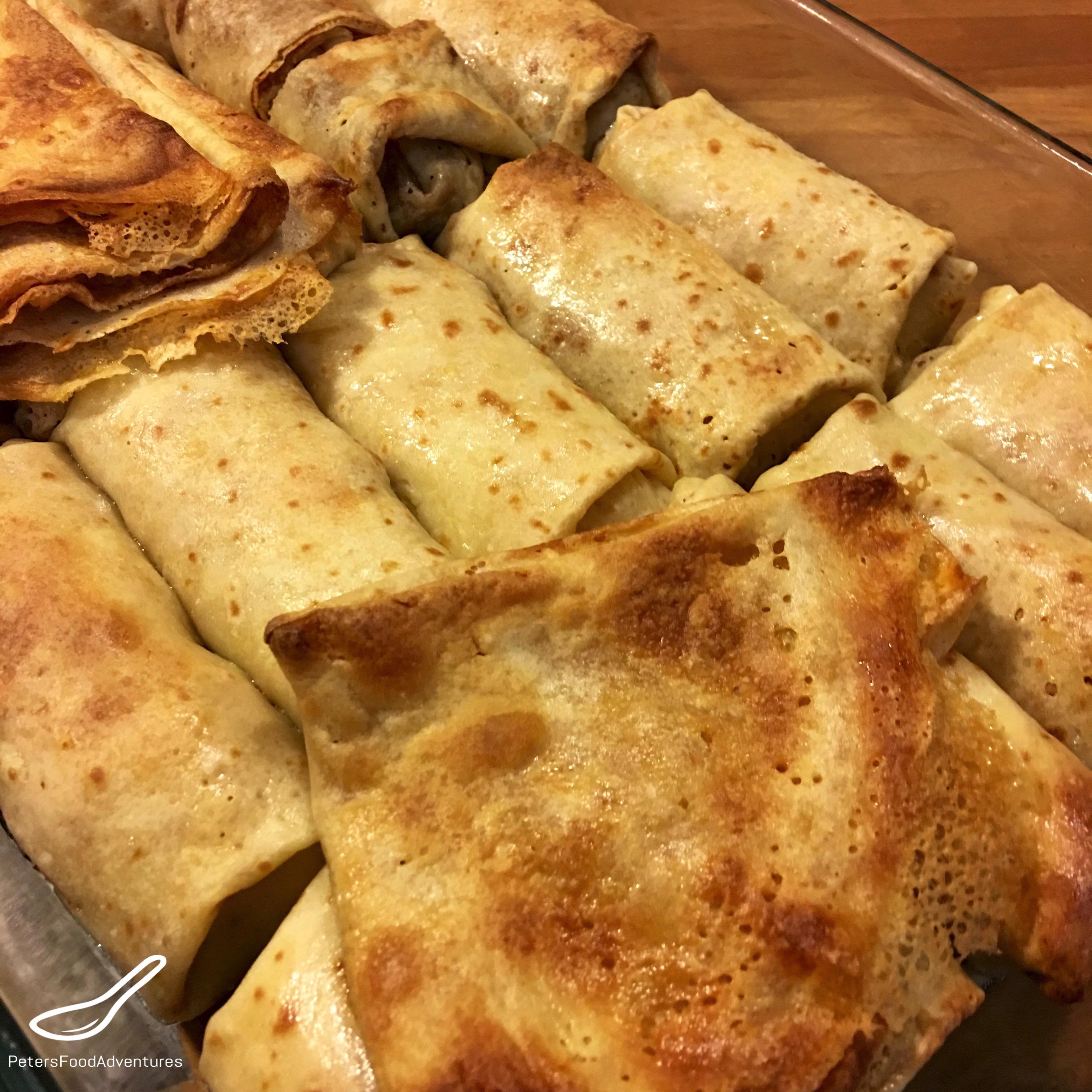 Blini Blintzes Stuffed with Meat (Блинчики с мясом)